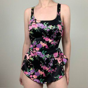 Vintage Maxine of Hollywood Floral Skirt Swimsuit